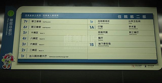医院室内索引标识牌
